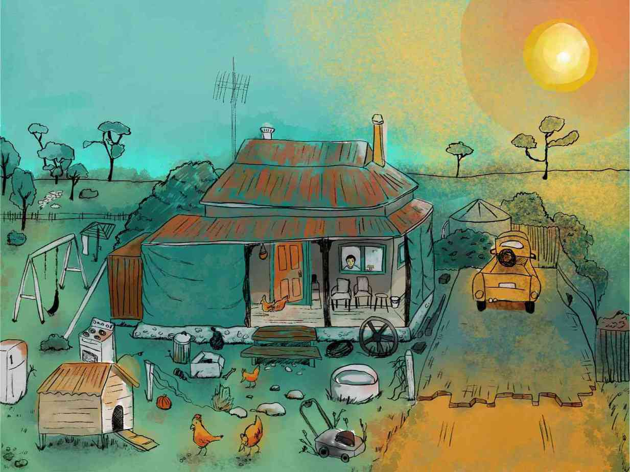 in mid australian summer a house with an untidy front yard sits in the middle of nowhere
