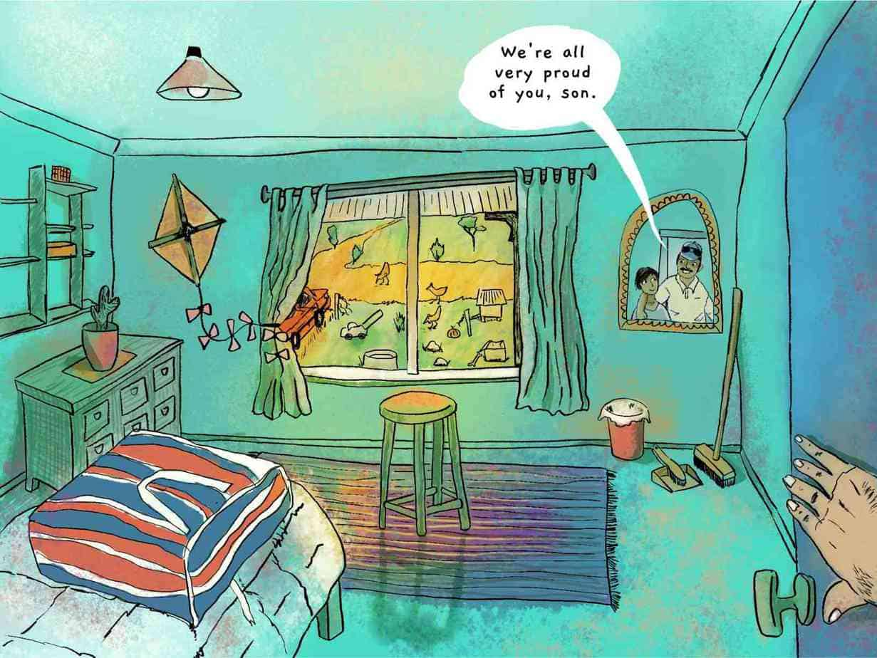 door opens into tidy boy's bedroom with view of chickens and red car