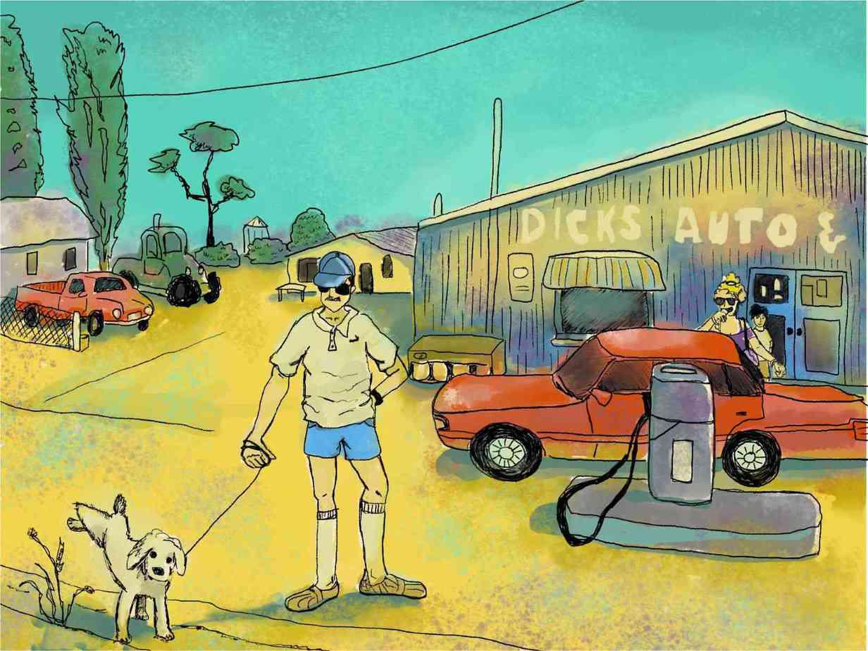 man lets dog pee at australian servo in summertime