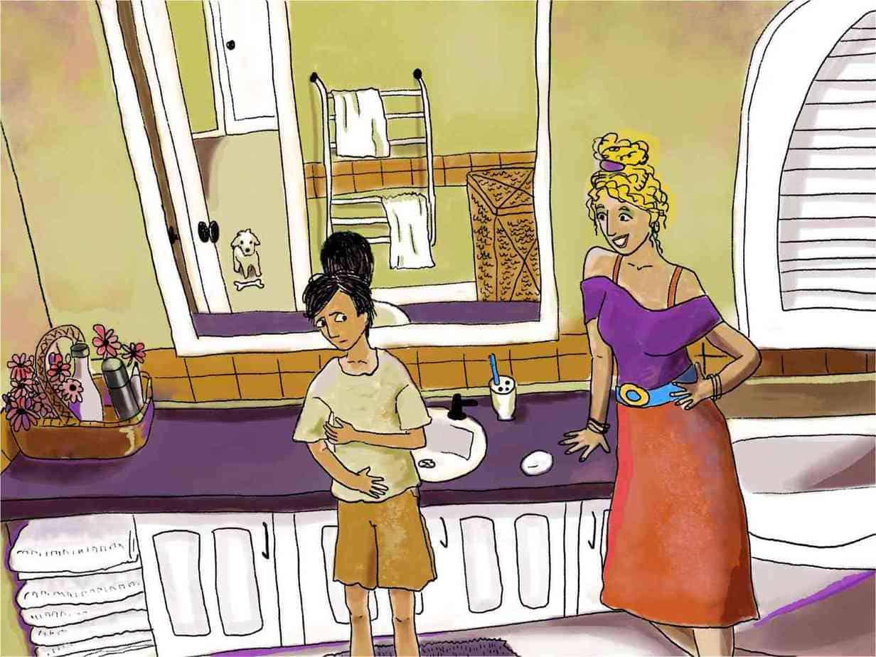 woman talks to nervous boy in bathroom