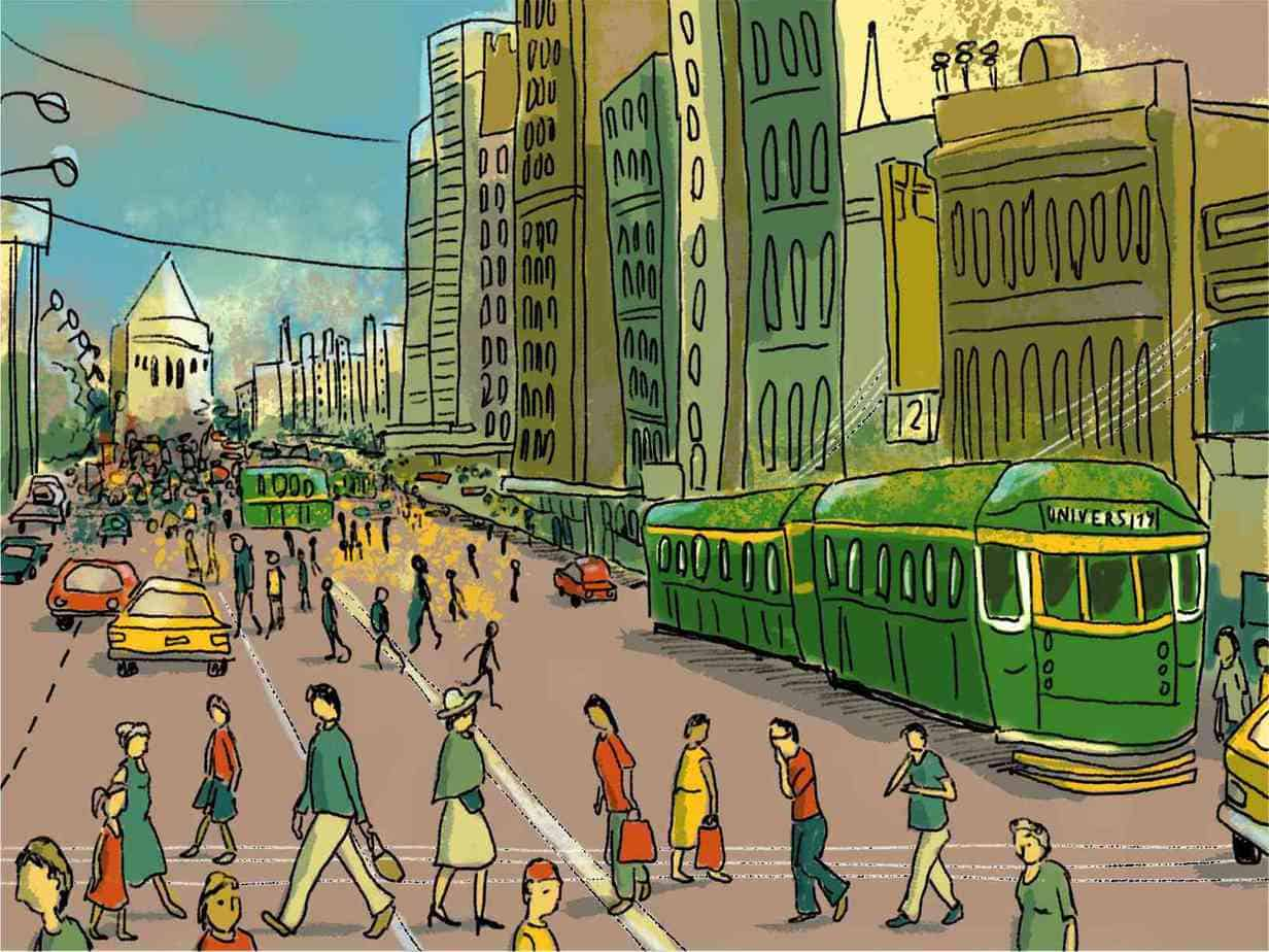 1980s view of Swanston Street Crowded Melbourne CBD