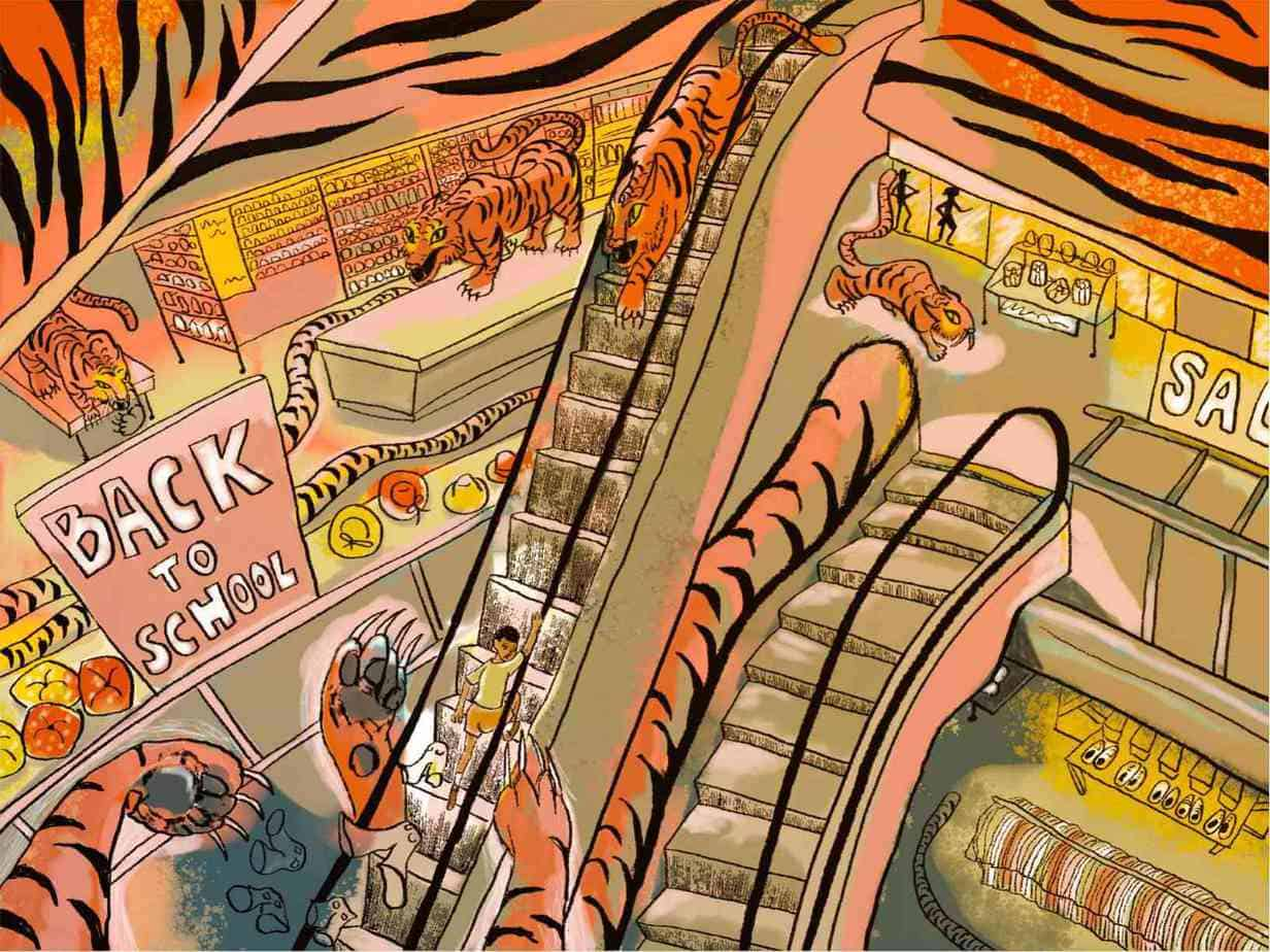 small boy runs up mall escalator pursued by tigers