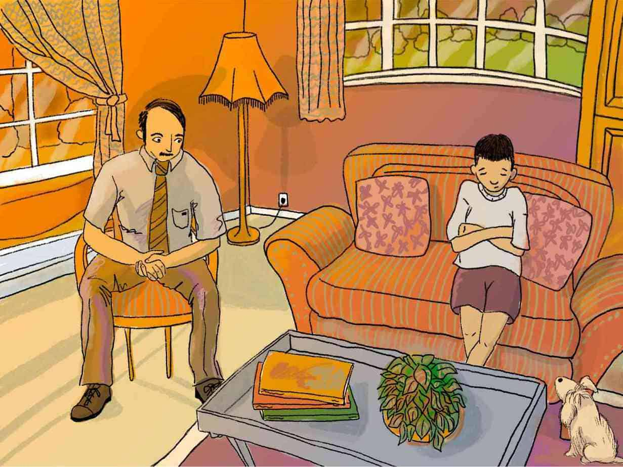 man and boy sit in awkward silence in a pink and orange living room