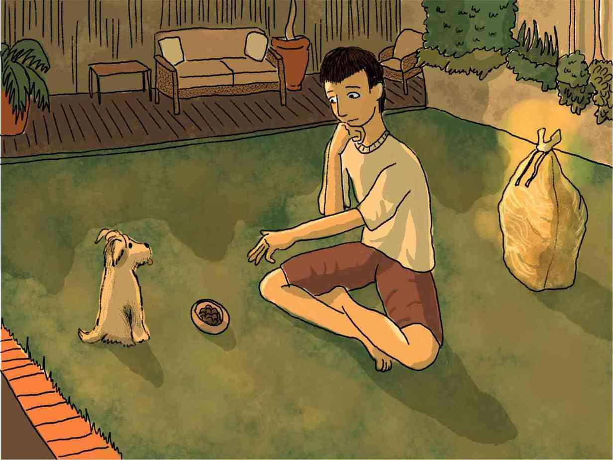 boy gestures to small dog who waits to eat diced meat from bowl on the grass