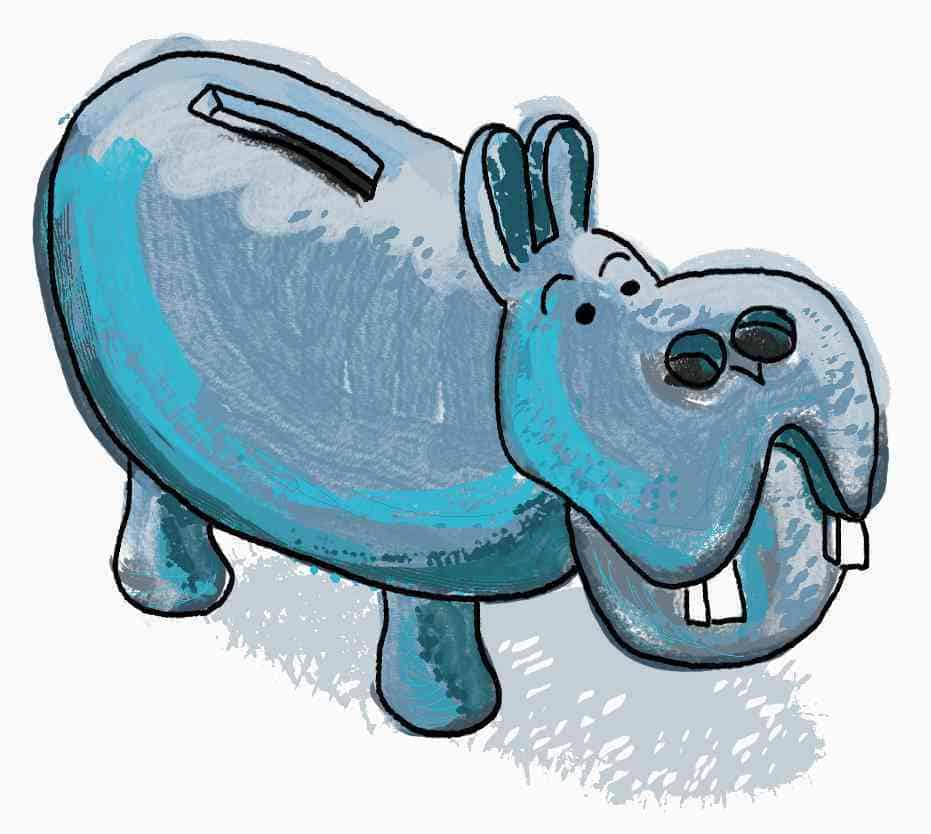 hippopotamus money box with coin slot in ridge of back