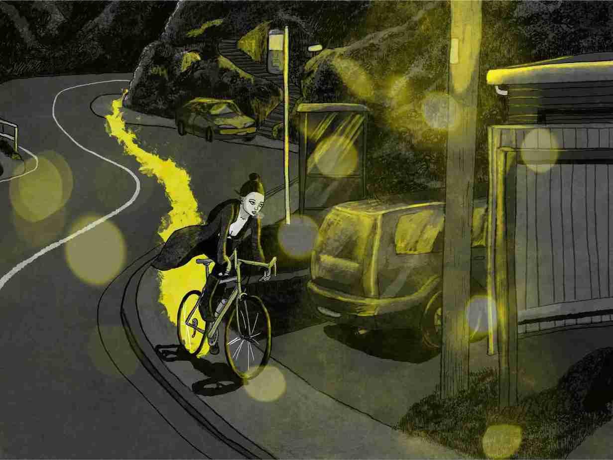 Charlie Riding Bike At Night